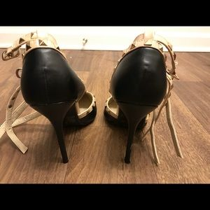 Wild Diva Shoes - Pointed Toe Studded Stiletto Heels Tbar Strap